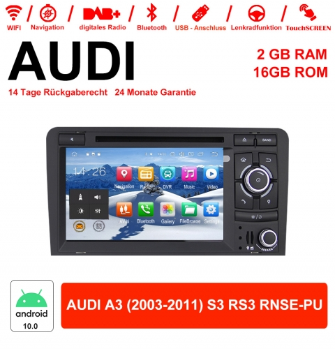 7 Inch Android 10.0 Car Radio / Multimedia 2GB RAM 16GB ROM For AUDI A3 (2003-2011) S3 RS3 RNSE-PU