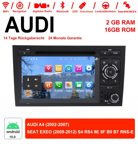 7 inch Android 10.0 Car Radio / Multimedia 2GB RAM 16GB ROM for Audi A4, SEAT EXEO S4 RS4 8E 8F B9 B7 RNS-E