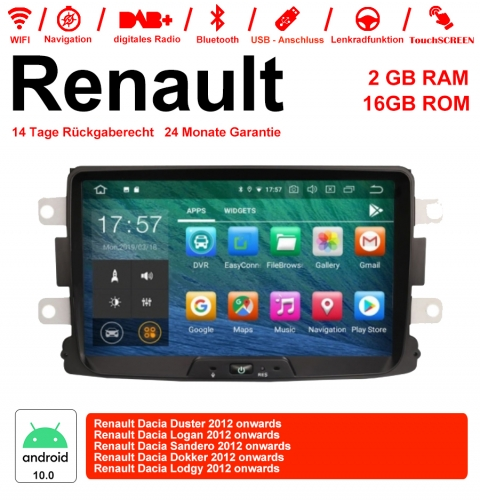 8 Inch Android 10.0 Car Radio / Multimedia 2GB RAM 16GB ROM For Renaults Dacia Duster, Logan, Sandero, Dokker, Lodgy