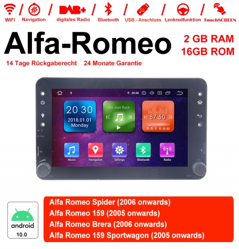 7 inch Android 10.0 Car Radio / Multimedia 2GB RAM 16GB ROM For Alfa Romeo Spider 159 Brera 159 Sportwagon