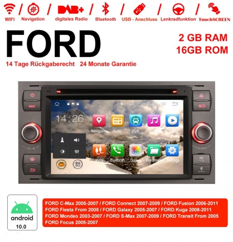 7 Inch Android 10.0 Car Radio / Multimedia 2GB RAM 16GB ROM For Ford Focus Fiesta Focus Fusion C / S-Max Transit Mondeo