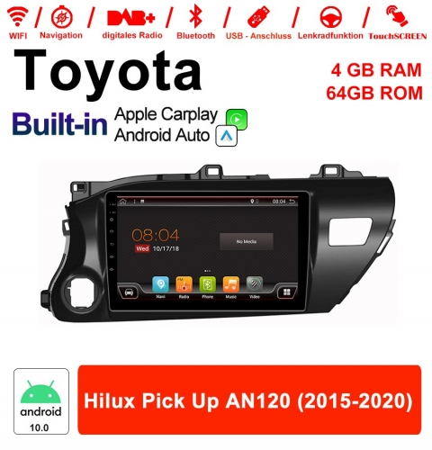 10 inch Android 10.0 Car Radio / Multimedia 4GB RAM 64GB ROM For Toyota Hilux Pick Up AN120 2015 - 2020 With DSP Built-in Carplay Android Auto