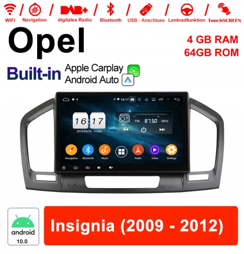 9 inch Android 10.0 car radio / multimedia 4GB RAM 64GB ROM for Insigina 2009 - 2012 with WIFI NAVI built-in Carplay