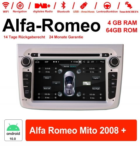 7 inch Android 10.0 car radio / multimedia 4GB RAM 64GB ROM For Alfa Romeo Mito 2008 + With WiFi NAVI Bluetooth USB