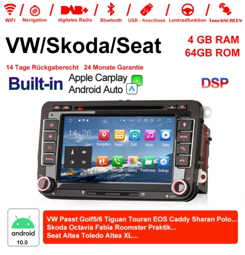 "7 ""Android 10.0 Car Radio / Multimedia 4GB RAM 64GB ROM for VW GOLF JETTA POLO Touran COS, Skoda Fabia Octavia Built-in Carplay / Android Auto"