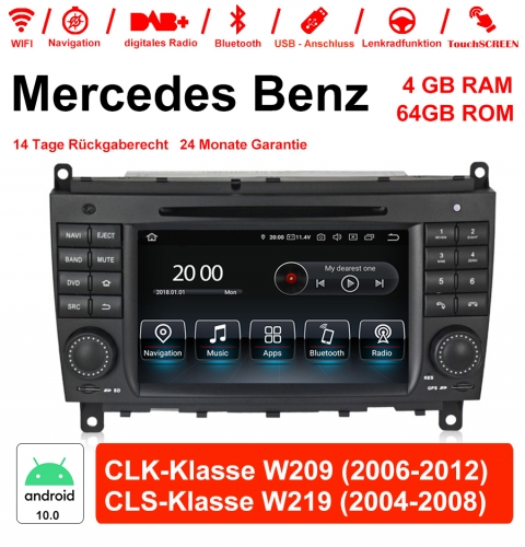 7 Inch Android 10.0 Car Radio / Multimedia 4GB RAM 64GB ROM For Mercedes Benz CLK-Class W209 CLS-Class W219 With WiFi NAVI Bluetooth USB