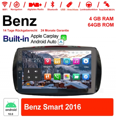 9 inch Android 10.0 car radio / multimedia 4GB RAM 64GB ROM for Benz Smart 2016 with WiFi NAVI Bluetooth USB