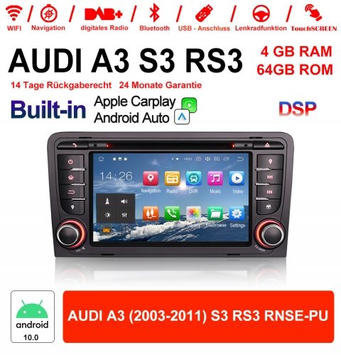 7 Inch Android 10.0 Car Radio / Multimedia 4GB RAM 64GB ROM For AUDI A3 (2003-2011) S3 RS3 RNSE-PU Built-in Carplay / Android Auto