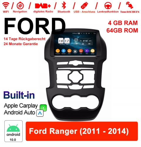 8 Inch Android 10.0 Car Radio / Multimedia 4GB RAM 64GB ROM For Ford Ranger 2011-2014 Built-in Carplay / Android Auto
