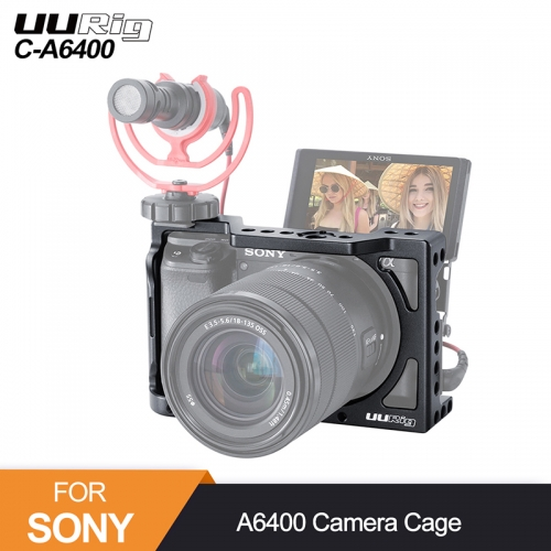 UURig C-A6400 Metal Camera Cage Rig for Sony Alpha A6400 Hand Grip Camera Rig DSLR Camera Accessories