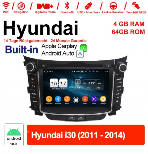 7 Inch Android 10.0 Car Radio / Multimedia 4GB RAM 64GB ROM For Hyundai i30 2011-2014 Built-in Carplay / Android Auto