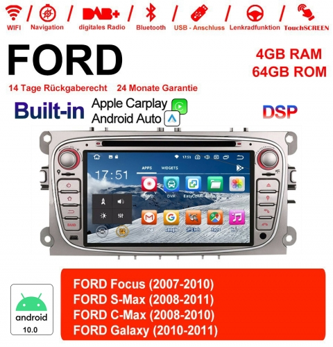 7 Inch Android 10.0 Car Radio / Multimedia 4GB RAM 64GB ROM For Ford Focus II Mondeo S-Max Color Silver Bluetooth 5.0 Built-in Carplay / Android Auto
