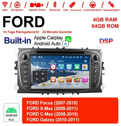 7 Inch Android 10.0 Car Radio / Multimedia 4GB RAM 64GB ROM For Ford Focus II Mondeo S-Max Color Gray  Bluetooth 5.0 Built-in Carplay / Android Auto