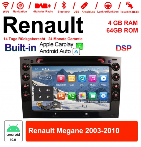 7 inch Android 10.0 Car Radio / Multimedia 4GB RAM 64GB ROM for RENAULT MEGANE 2003-2010 Built-in Carplay / Android Auto
