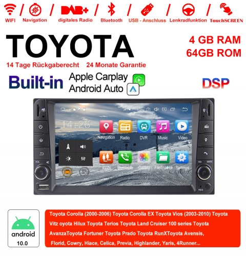 7 Inch Android 10.0 Car Radio / Multimedia 4GB RAM 64GB ROM For Toyota Corolla Vios Terios Land Cruiser Avanza RunX Built-in Carplay / Android Auto