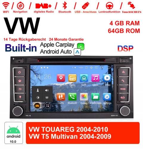 7 Inch Android 10.0 Car Radio / Multimedia 4GB RAM 64GB ROM For VW TOUAREG 2004-2011, VW T5 Multivan 2004-2009 Built-in Carplay / Android Auto