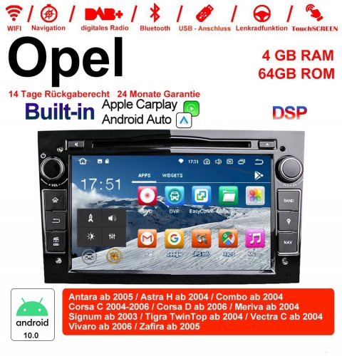 7 inch Android 10.0 Car Radio / Multimedia 4GB RAM 64GB ROM for Opel Astra WITH built-in DSP and Bluetooth 5.0 black Built-in Carplay / Android Auto