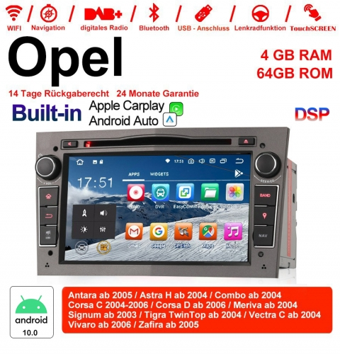 7 inch Android 10.0 car radio / multimedia 4GB RAM 64GB ROM For Opel Astra Vectra WITH the built-in DSP and Carplay / Android Auto Gray