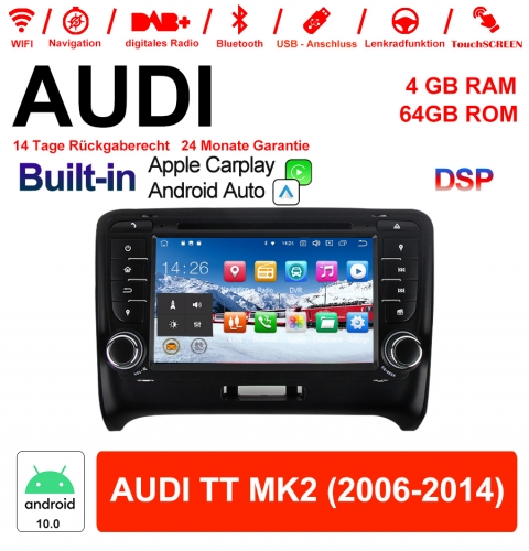 7 Inch Android 10.0 Car Radio / Multimedia 4GB RAM 64GB ROM For AUDI TT MK2 With WiFi NAVI Bluetooth USB Built-in Carplay / Android Auto