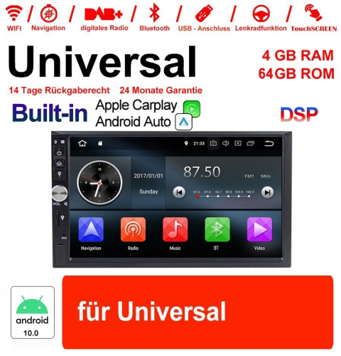 "7"" 2 Din Android 10.0 Octa 8 Kern 4GB RAM 64GB ROM Autoadio Player für Universal GPS Navigation Stereo Radio MP3  Built-in Carplay / Android Auto"