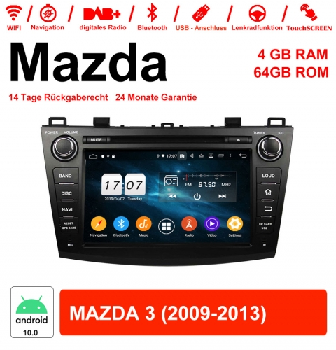 8 inch Android 10.0 car radio / multimedia 4GB RAM 64GB ROM for Mazda 3 2009-2013 with WiFi NAVI Bluetooth USB