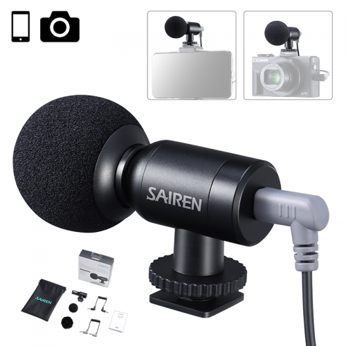 Sairen Nano Mic Portable Mini Record TRS TRRS Microphone for Gopro 8 7 6 5 Sony A6400 A6300 SLR Camera smartphone Vlog Mic