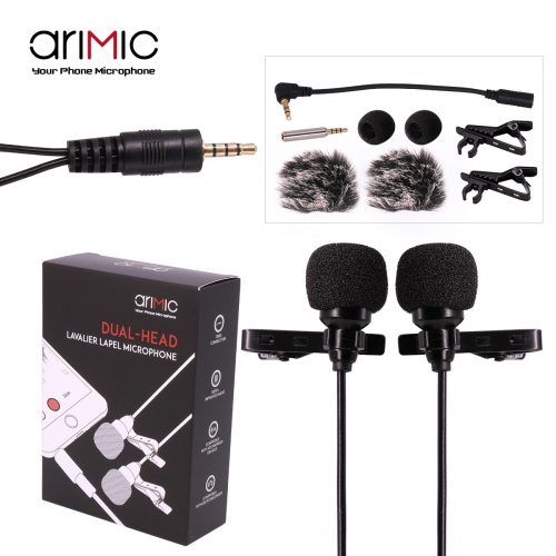 Ulanzi AriMic 1.5 m dual-head lavalier clip-on microphone for lecture or interview for smartphone mobile phone and tablets