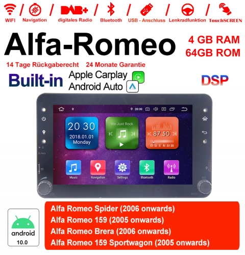 7 inch Android 10.0 Car Radio / Multimedia 4GB RAM 64GB ROM For Alfa Romeo Spider 159 Brera 159 Sportwagon Built-in Carplay / Android Auto