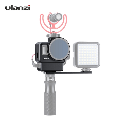 Ulanzi V2 Pro Sports Camera Cage Vlog Case Protective Cage with 52mm Filter Mic Adapter for GoPro Hero 7 6 5