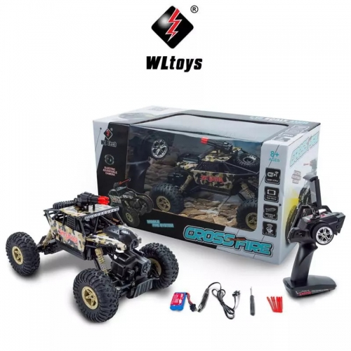 WLTOYS 18428-A 1/18 2.4GHz 4WD RC Missile Car with 0.3MP Wifi FPV Camera Off-road Crawler Real-time for Kid Toy Gift