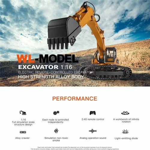 Wltoys 16800 RC Car 1:16 2.4Ghz 8CH RC Excavator Engineering Alloy Crawler RC Vehicle with Lighting Sound RTR Model Toy