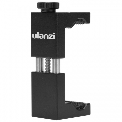 "Ulanzi ST-02 Universal Phone Holder 1/4"" Screw Adjustable Phone Clamp Clip with Hot Shoe for Tripod Selfie Smartphone Holder"