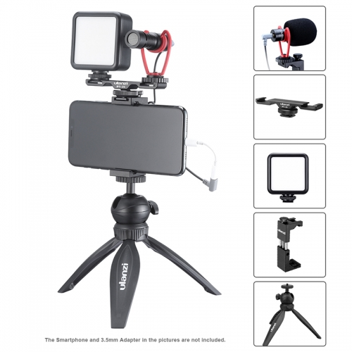 ULANZI Smartphone Video Kit Phone Photography Live VLog Set Includes Tripod Phone Clip LED Lights Microphone Handheld Stabilizer