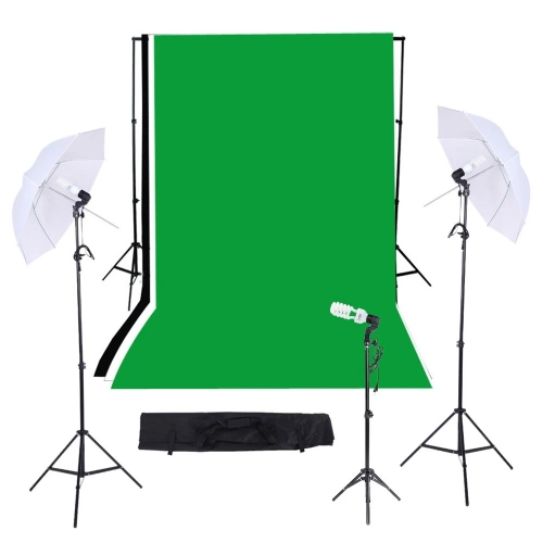 Triple lighting set with Muslins backdrops + backdrop stand assembly + light stand background + 83cm umbrellas + 45W light bulb