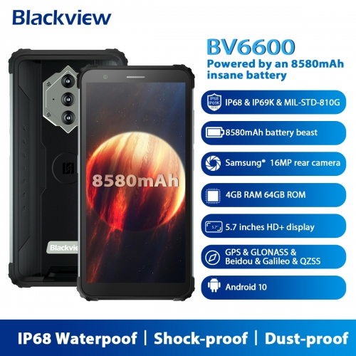 "Blackview BV6600 IP68 Waterproof 8580mAh Rugged Smartphone Octa Core 4GB + 64GB 5.7 ""FHD Mobile Phone 16MP Camera NFC Android 10"