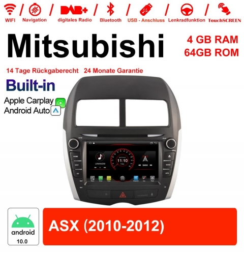 8 Inch Android 10.0 Car Radio / Multimedia 4GB RAM 64GB ROM For Mitsubishi ASX 2010-2012 Built-in CarPlay / Android Auto