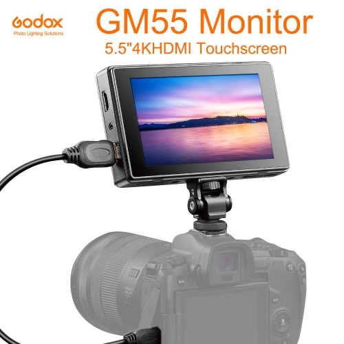 Godox GM55 5.5 Inch IPS Touchscreen On Camera Monitor 4K HDMI Output 160 ° Wide Angle 3D LUT for DSLR ILDC Cameras