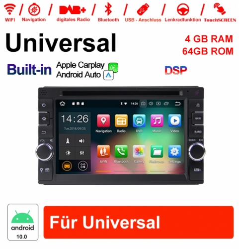 6.2 inch Android 10.0 Car Radio / Multimedia 4GB RAM 64GB ROM For Universal Built-in Carplay Android Auto