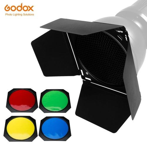 Godox BD-04 Barn Door + Honeycomb Grid + 4 Color Filter for Standard Reflector