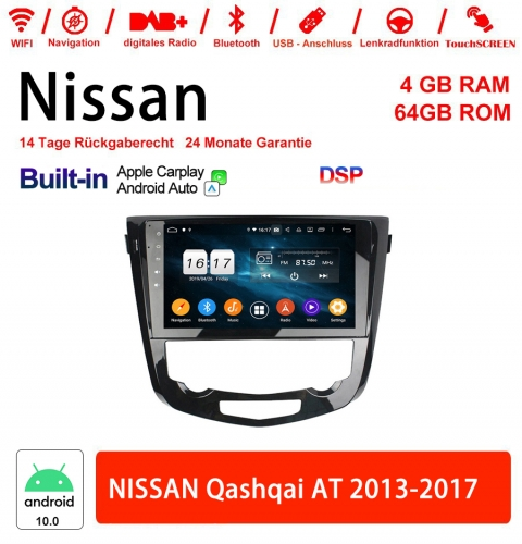 10.1 Inch Android 10.0 Car Radio / Multimedia 4GB RAM 64GB ROM For NISSAN Qashqai AT 2013-2017 Built-in Carplay / Android Auto