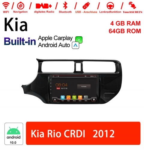 9 Inch Android 10.0 Car Radio / Multimedia 4GB RAM 64GB ROM For Kia Rio CRDI 2012 Built-in Carplay