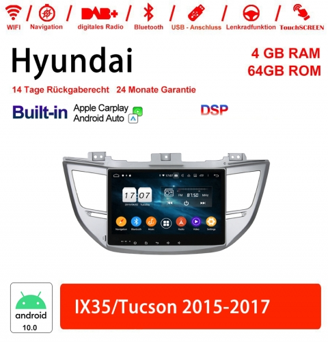 10.1 Inch Android 10.0 Car Radio / Multimedia 4GB RAM 64GB ROM For Hyundai IX35/Tucson 2015-2017 Built-in Carplay / Android Auto