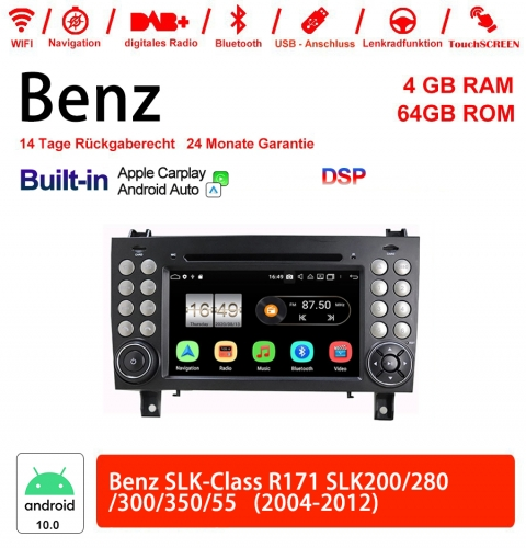7 Inch Android 10.0 Car Radio / Multimedia 4GB RAM 64GB ROM For SLK-Class R171 SLK200 280 300 350 55 2004-2012 Built-in Carplay / Android Auto