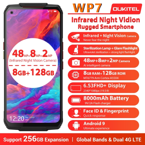 OUKITEL WP7 IP68 Helio P90 6GB 128GB Smartphone 8000mAh Battery 48MP Triple Camera 6.53 '' robust, waterproof cell phone
