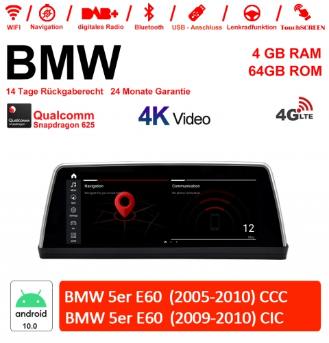 10.25 Inch Qualcomm Snapdragon 625 8 Core Android 10.0 4G LTE Car Radio / Multimedia 4GB RAM 64GB ROM For BMW 5 Series E60 CCC/CIC With WiFi