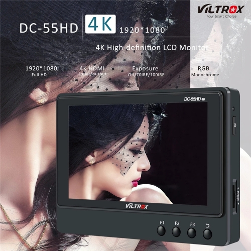 VILTROX DC-55HD 5.5 Inch Camera Field Monitor LCD Screen Full HD 1920 x 1200 Support 4K HDMI Signal