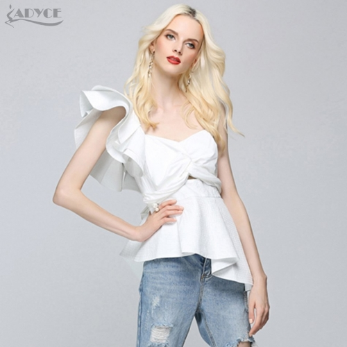 ADYCE New Fashion Summer Runway Tops Sexy White Blouse Women One Shoulder Ruffles Strapless Short Tops Nightclub wear Crop Top
