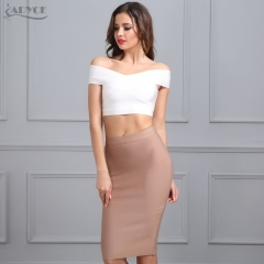 ADYCE New Women Bandage Skirt Sexy Celebrity Party Skirts Knee-length Khaki Blue Red White Black Nude Bodycon Skirt