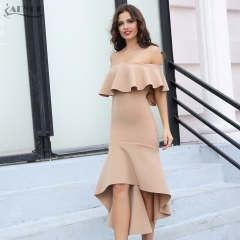 Adyce Summer Celebrity Evening Party Dress Sexy Clubwear Elegant Pink Slash Neck Patchwork Ruffles Midi Women Dress Vestido