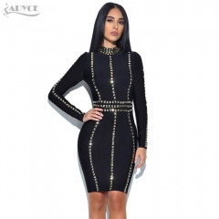 Adyce Summer New Arrive Women Bandage Dress Stand Neck Long Sleeve Luxury Sequined Knee-Length Club Celebrity Evening Party Dress